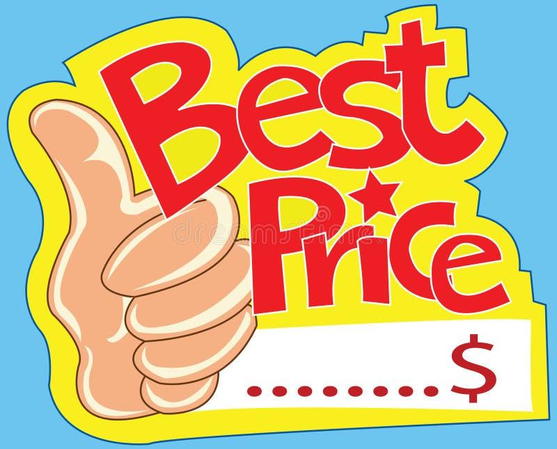 Migliori contrassegno di prezzi e pollice di esposizione illustrazione vettoriale