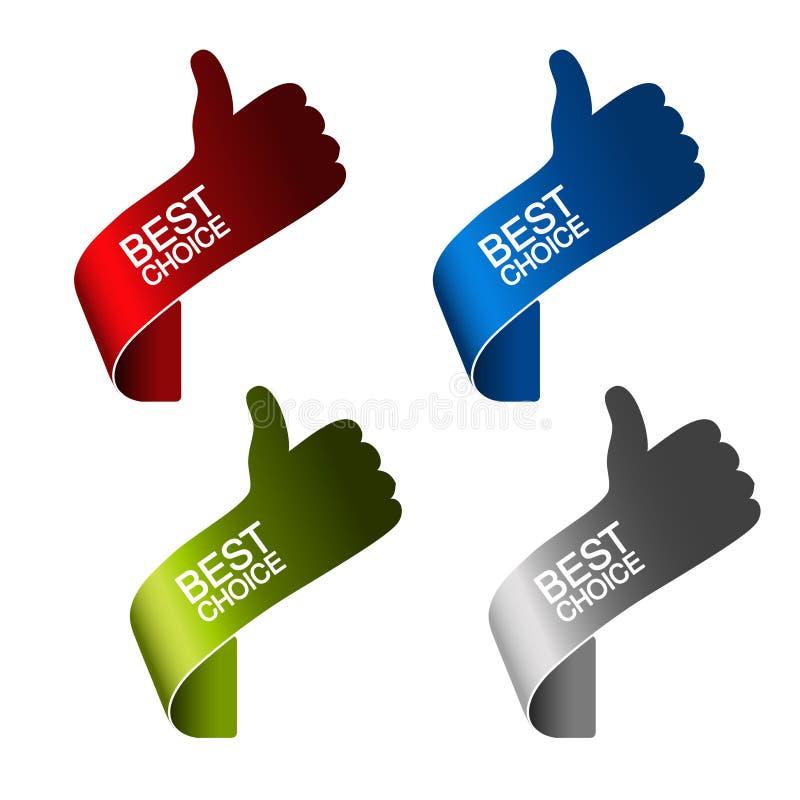 Migliori elementi choice di carta - gesto di mano illustrazione di stock