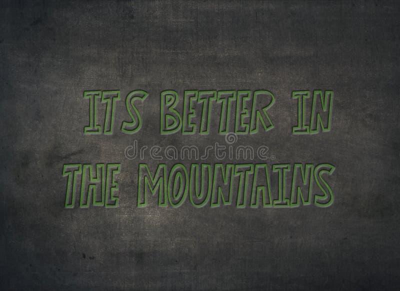 Migliori le montagne che la natura ama lo scritto tipografico sano fotografie stock libere da diritti