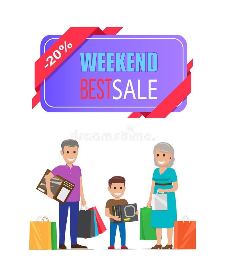 Migliori nonni del manifesto di vendita di fine settimana su acquisto illustrazione di stock