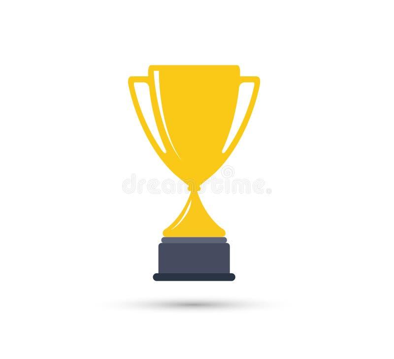 Migliori premio del trofeo del vincitore della tazza di campione ed elemento semplici di progettazione dell'icona di vittoria royalty illustrazione gratis