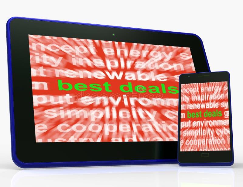 Migliori prezzi bassi di media della compressa di affari o offerte di stupore illustrazione vettoriale