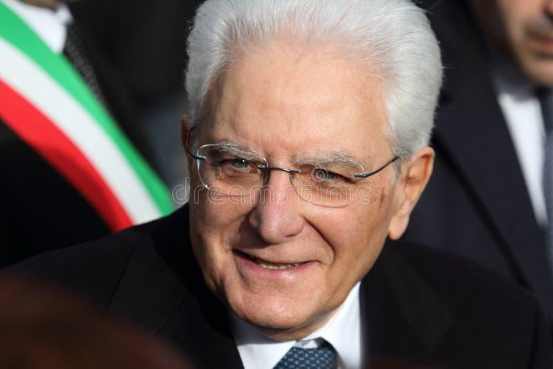Mignano Monte Lungo - l'Italie, le 8 décembre 2018 : Le président de la République italienne Sergio Mattarella célèbre la soixant photo stock