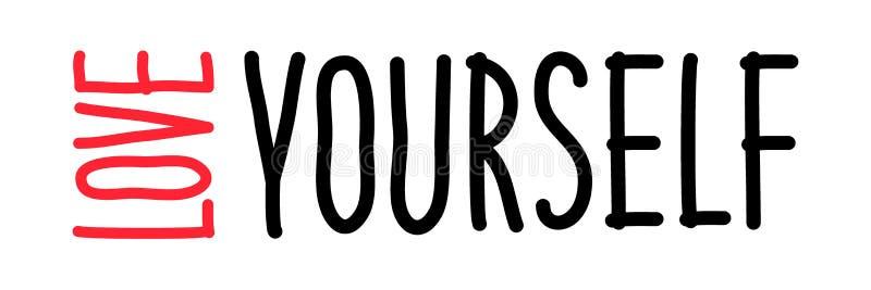 Mignon aimez vous-même expression à la mode de inscription tirée par la main d'affirmation illustration libre de droits