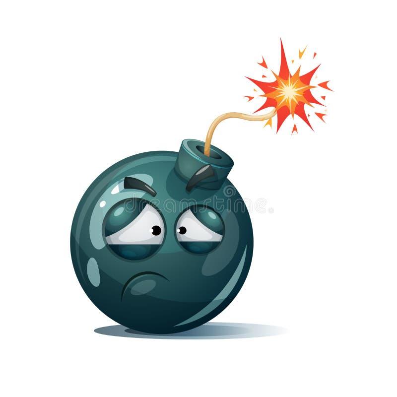 Mignon, drôle, fou - caractère de bombe de bande dessinée Smiley mélancolique illustration de vecteur