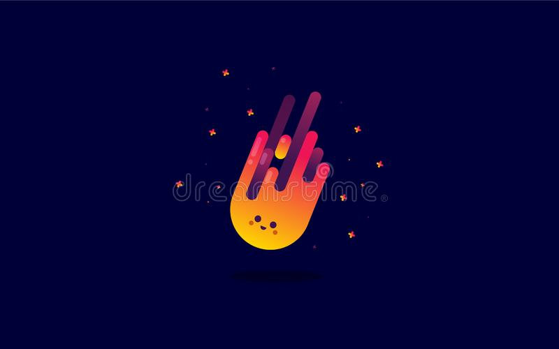 Mignon heureux peu de feu brillant dans l'espace illustration libre de droits
