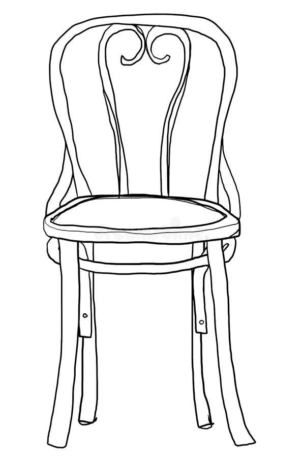 mignon illustration chaise de bois courbé de chaise de schéma illustration de vecteur