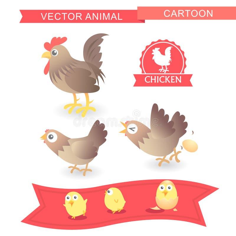 Mignon-illustration de poulet de bande dessinée de vecteur illustration de vecteur