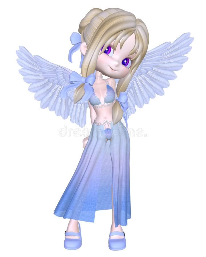 Mignon petit ange bleu Toon illustration stock