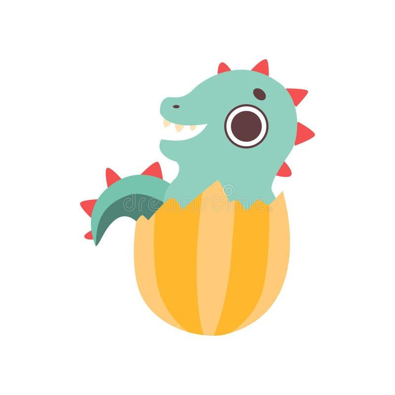 Mignon petit Dino Hatched d'oeuf, illustration adorable de vecteur de caractère de dinosaure de bébé illustration libre de droits