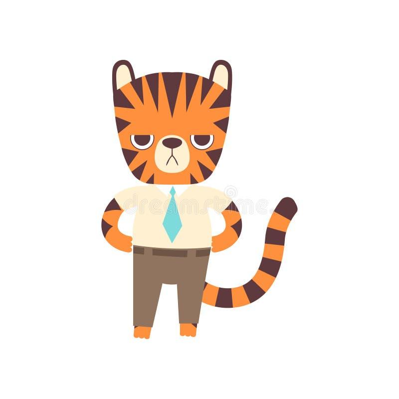 Mignon petit Tiger Businessman Standing Confidently, illustration animale sauvage adorable de vecteur de personnage de dessin ani illustration stock