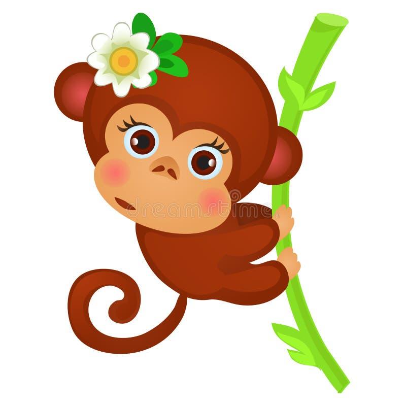 Mignon peu de singe sur une tige de bambou d'isolement sur un fond blanc Animaux exotiques Croquis d'affiche de fête, partie illustration libre de droits