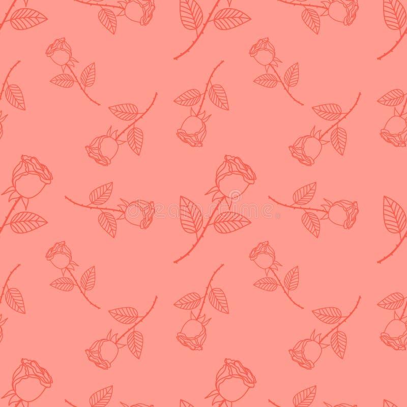 Mignon sans couture s'est levé, vecteur de modèle de fleur illustration de vecteur