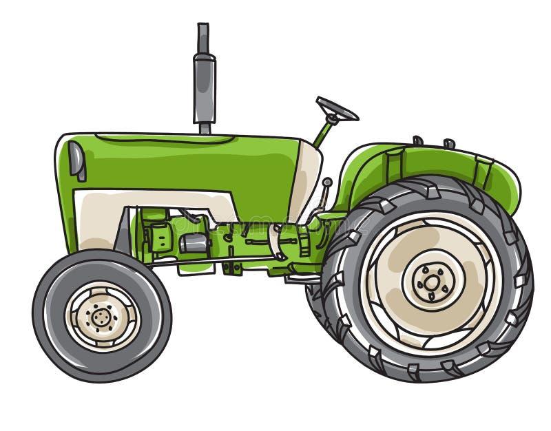 Mignon tiré par la main illus vecteur de vieux vintage vert de tracteur de schéma illustration stock