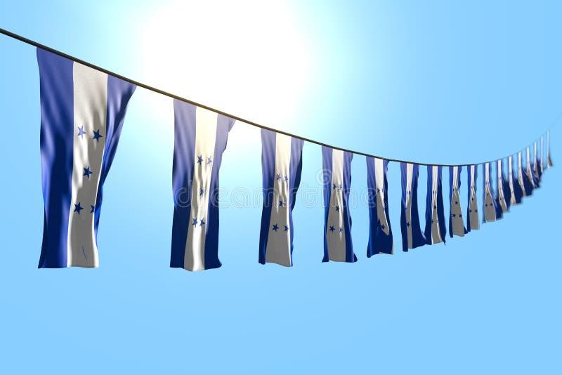 Mignon toute illustration du drapeau 3d de festin - beaucoup de drapeaux ou de bannières du Honduras accrochant la diagonale sur  illustration stock