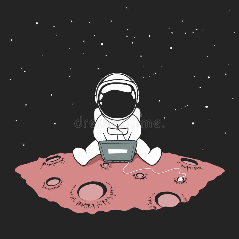 Mignon un astronaute s'assied dans l'Internet illustration de vecteur