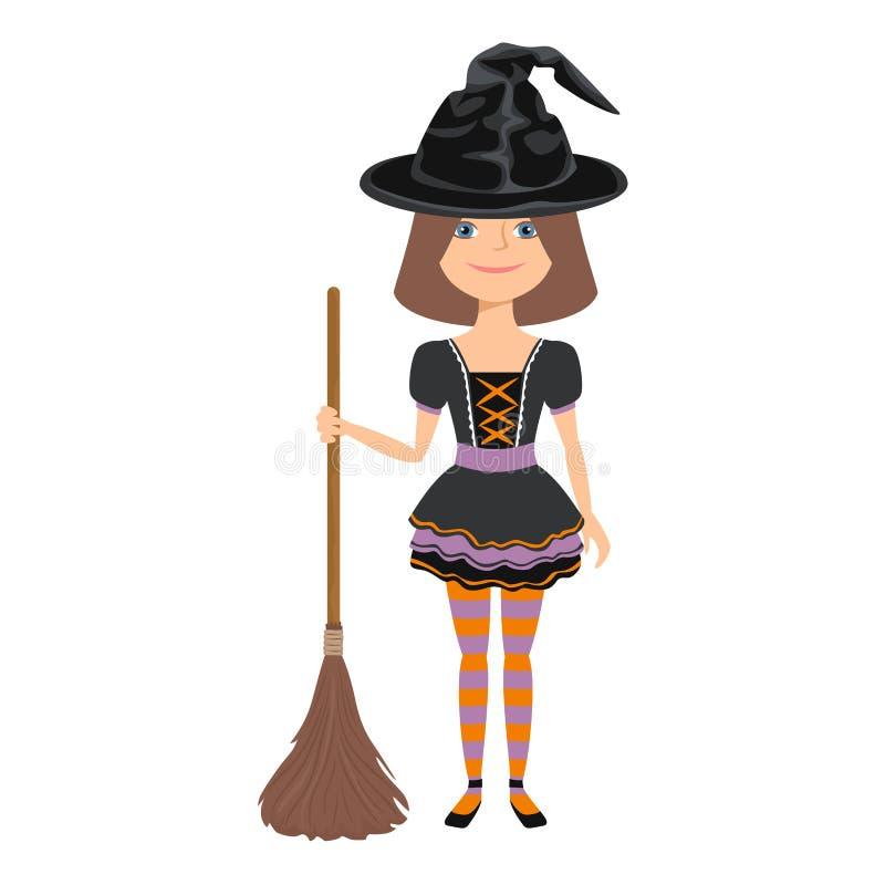 Mignonne fille en costume de sorcière en chapeau noir tenant du balai isolé sur fond blanc Décoration d'Halloween illustration de vecteur