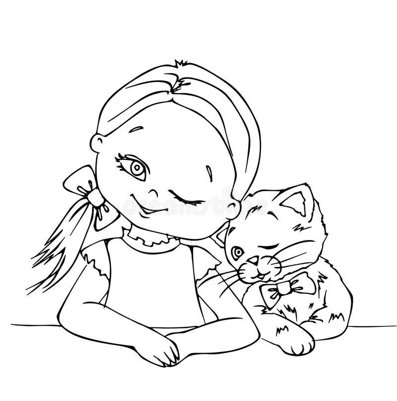 Mignonne fille et mignon chaton en train de se réveiller, mignonne petite fille, mignonne petite chatte, chaton, animal, enfant,  illustration stock