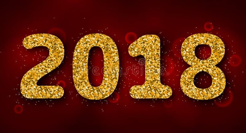 Migocący tło z Złotym pyłem dla 2018 Szczęśliwych nowy rok ilustracji