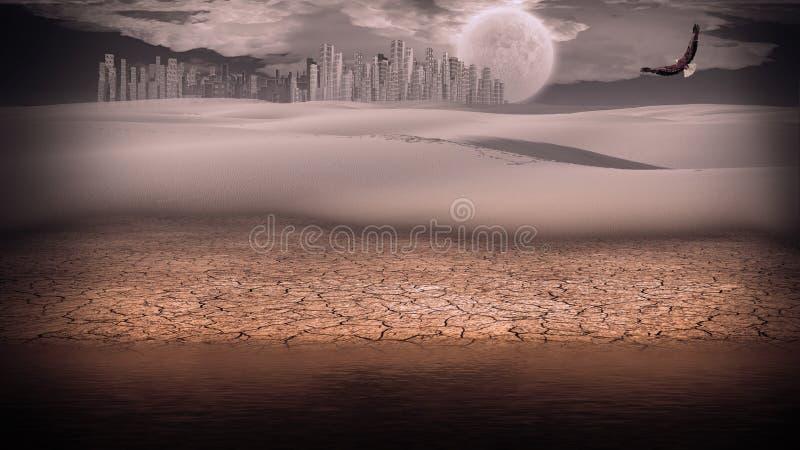 Migoczący srebro pustyni miasto royalty ilustracja