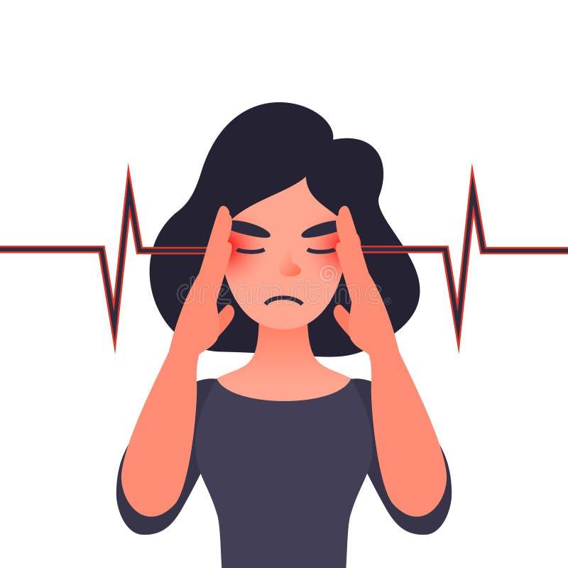 Migräne, Gesundheitsprobleme und Schmerzkopf vektor abbildung
