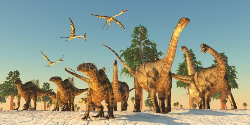 Migração da seca do dinossauro ilustração do vetor