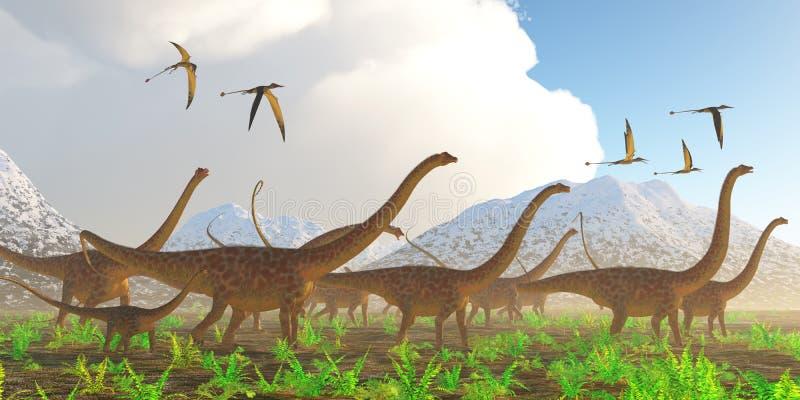 Migração do dinossauro do Diplodocus ilustração do vetor