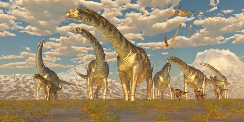 Migração do rebanho do Argentinosaurus ilustração stock