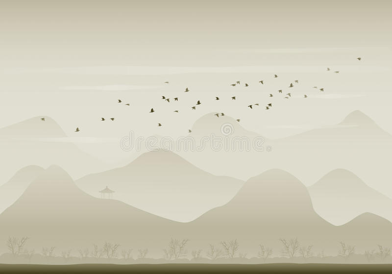 Migración de los pájaros ilustración del vector