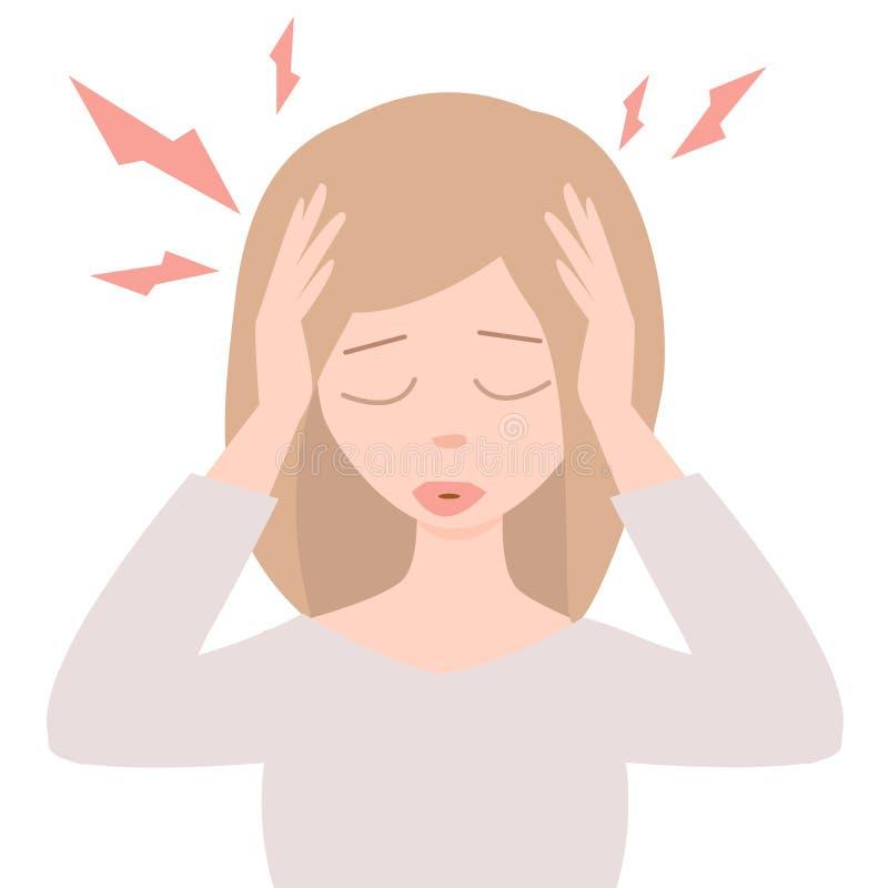 Migraine forte Jeune femme avec le mal de tête aigu illustration de vecteur
