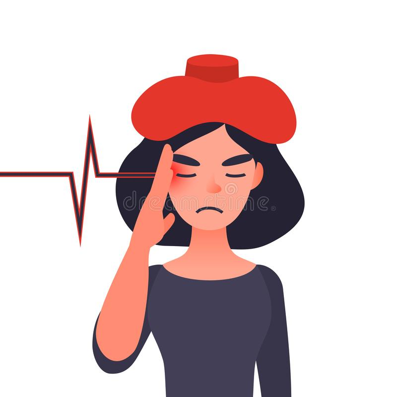Migraine ill or chronic headache concept. Migraine ill or headache concept. Sick with ice or hot bottle on her head. Female character holding her aching head vector illustration