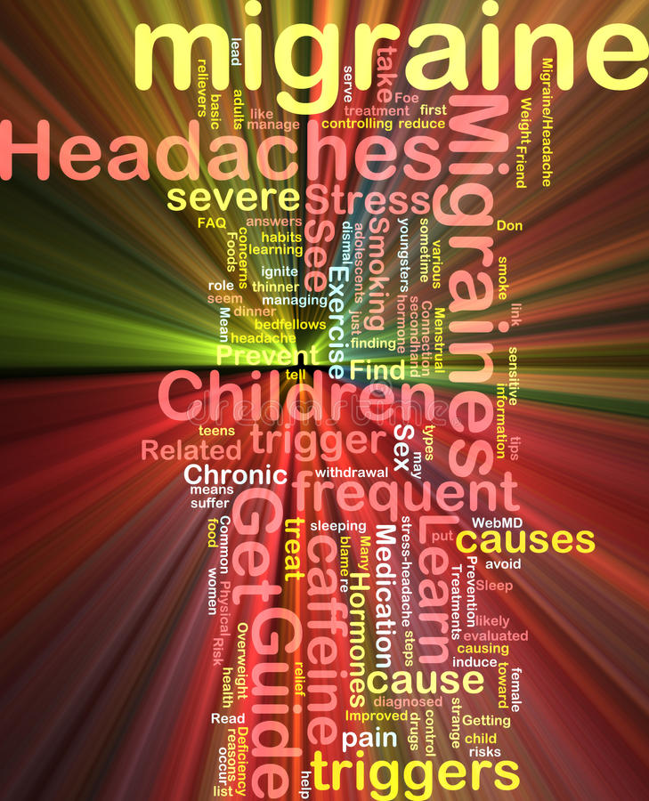 Migraine word cloud glowing royalty free illustration