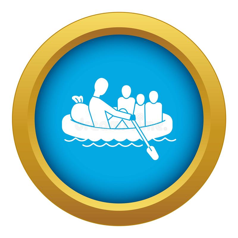 Migrant family in boat icon blue vector isolated royalty free illustration