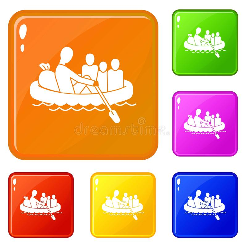 Migrant family in boat icons set vector color stock illustration