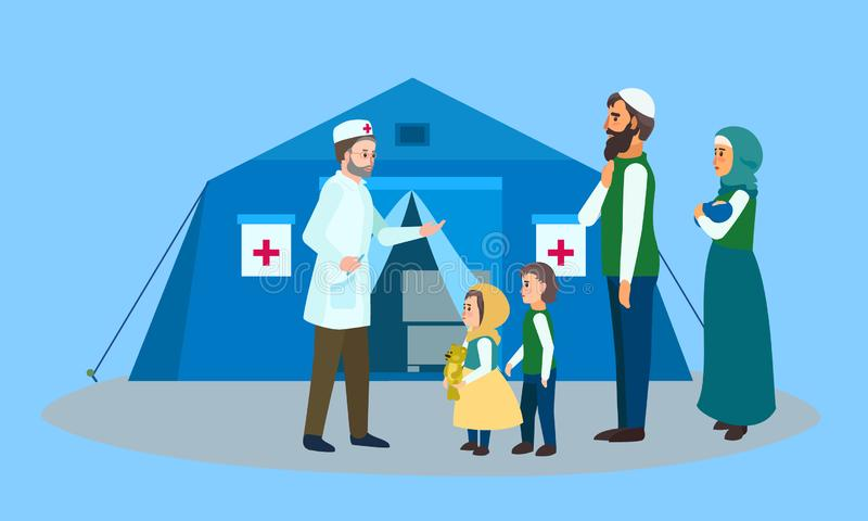 Migrant family doctor tent concept banner, flat style stock illustration