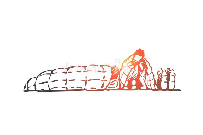Migrant, illegal, homeless, crisis concept. Hand drawn isolated vector. vector illustration