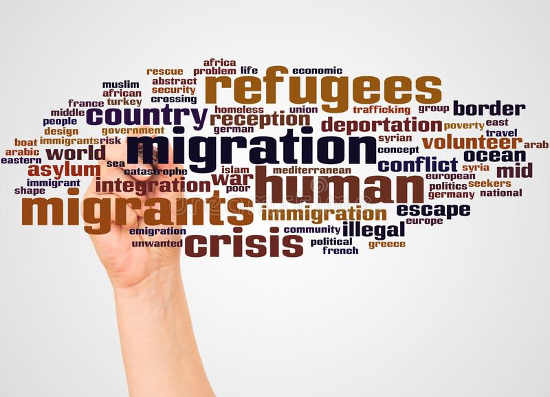 Migrant and Refugee word cloud and hand with marker concept royalty free illustration