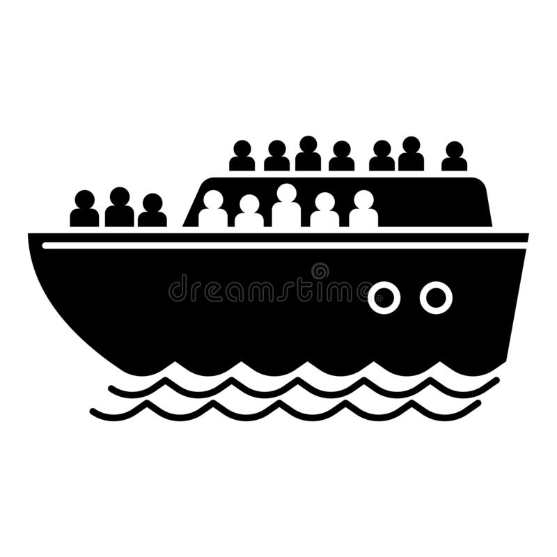 Migrant ship icon, simple style vector illustration