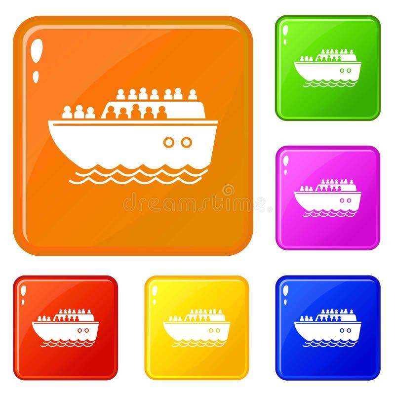 Migrant ship icons set vector color vector illustration