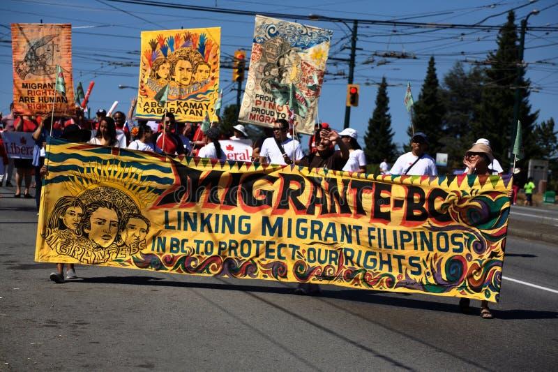 Migrante A.C., desfile de la fiesta de Pinoy imagen de archivo libre de regalías
