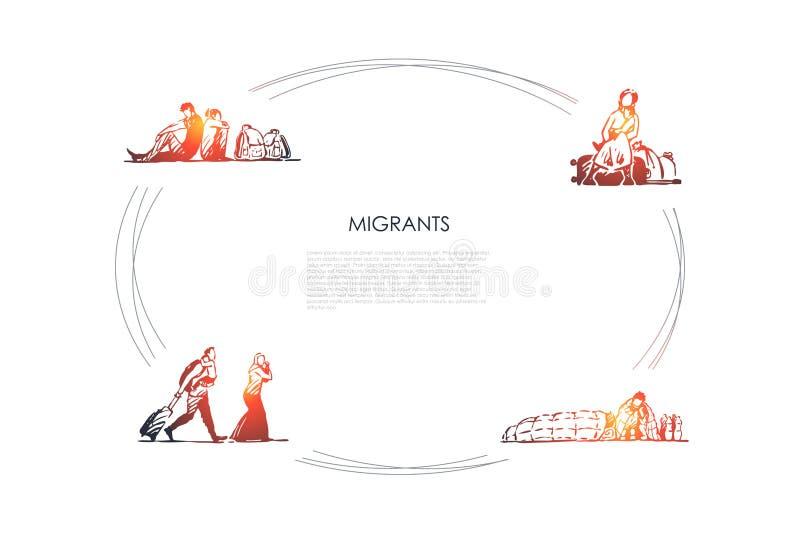 Migranter - folk med p royaltyfri illustrationer
