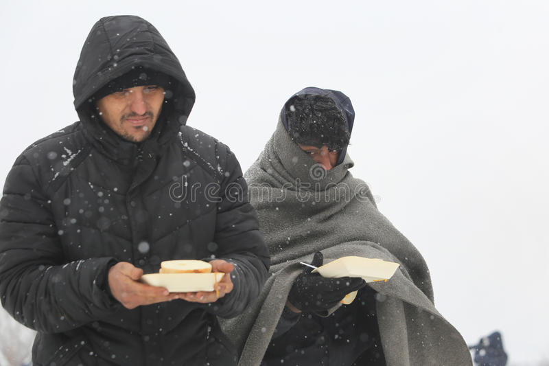 Migrants in Belgrade during winter stock photography