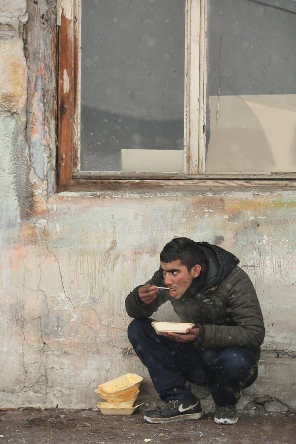Migrants in Belgrade during winter royalty free stock photos
