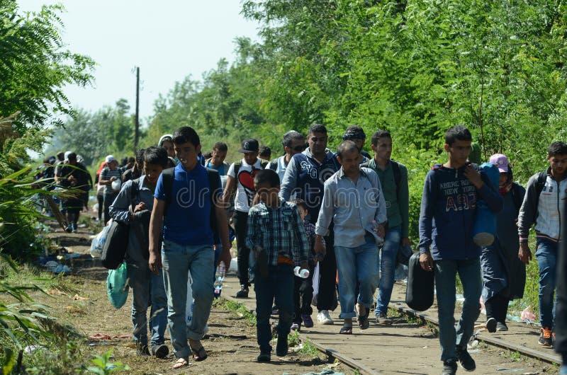 Migrants de Syrie image libre de droits