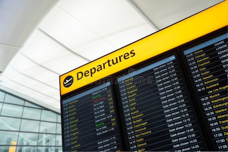 Migrar a informação, chegada, partida no aeroporto, Londres fotografia de stock royalty free