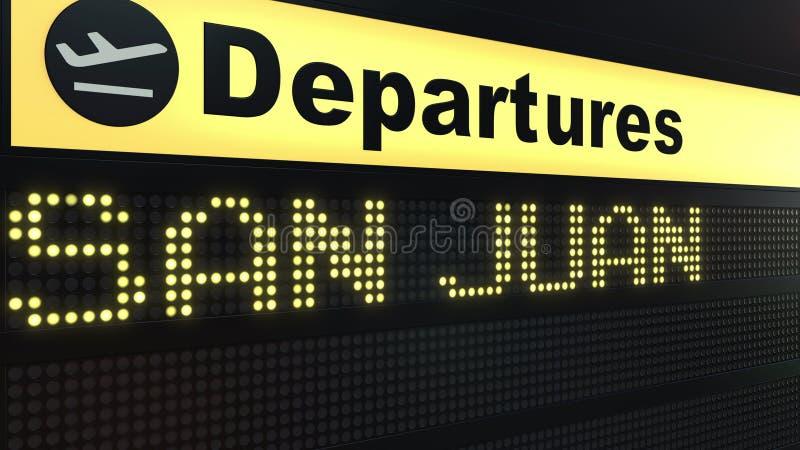 Migrar a San Juan na placa das partidas do aeroporto internacional Viagem à rendição 3D conceptual de Porto Rico ilustração royalty free