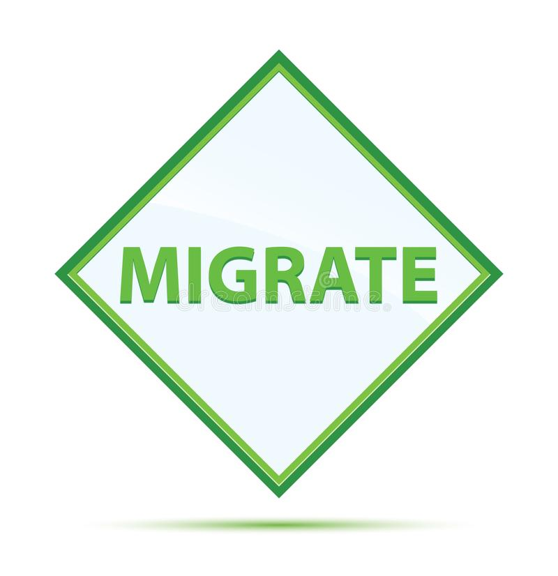 Migrate modern abstract green diamond button. Migrate Isolated on modern abstract green diamond button royalty free illustration