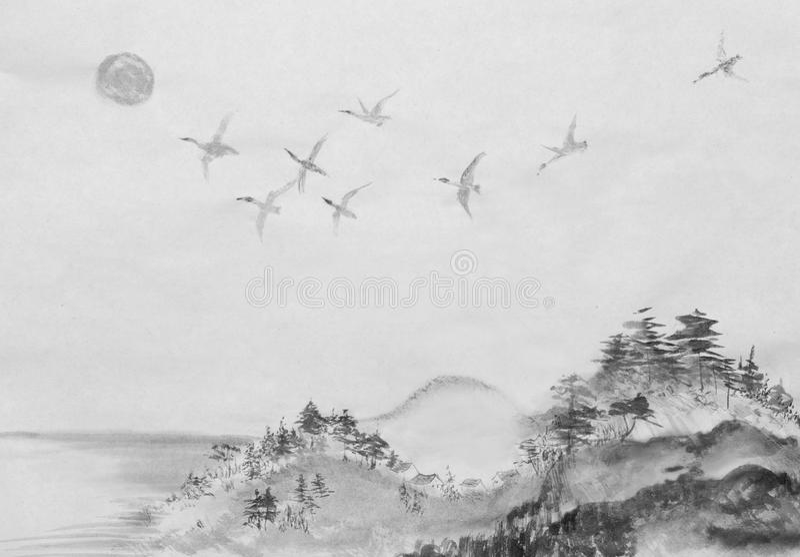 Migratie van eenden in zuiden royalty-vrije illustratie