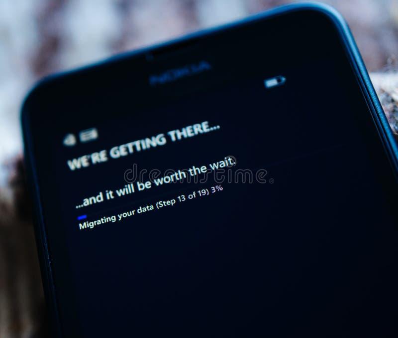 Migrating data on Windows Microsoft smartphone stock photography