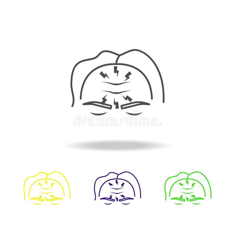 migren stubarwne ikony Element ciało ludzkie ból może używać dla sieci, logo, mobilny app, UI, UX ilustracji